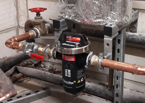 The BoilerMag XL magnetic boiler filter was installed by Enright Environmental