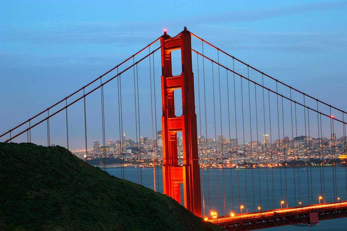 Golden Gate Bridge at Night and San Francisco City Photo