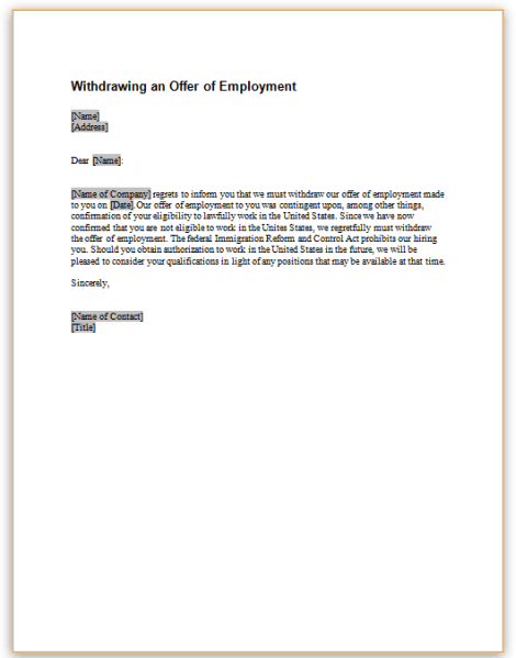 Rescind Offer Employee Failed Background Template