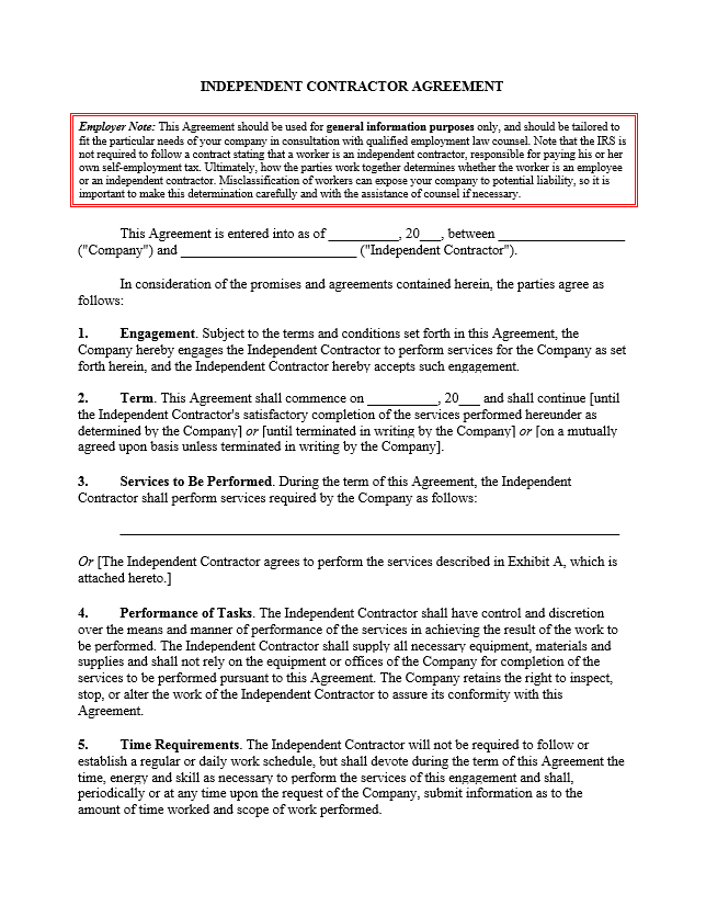 Sample Independent Contractor Agreement