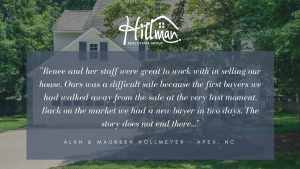What Clients Say About Renee: Alan & Maureen Hollmeyer – Apex, NC