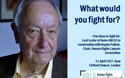 'Five Ideas to Fight For' – Lord Lester of Herne Hill QC in Conversation with Angela Patrick