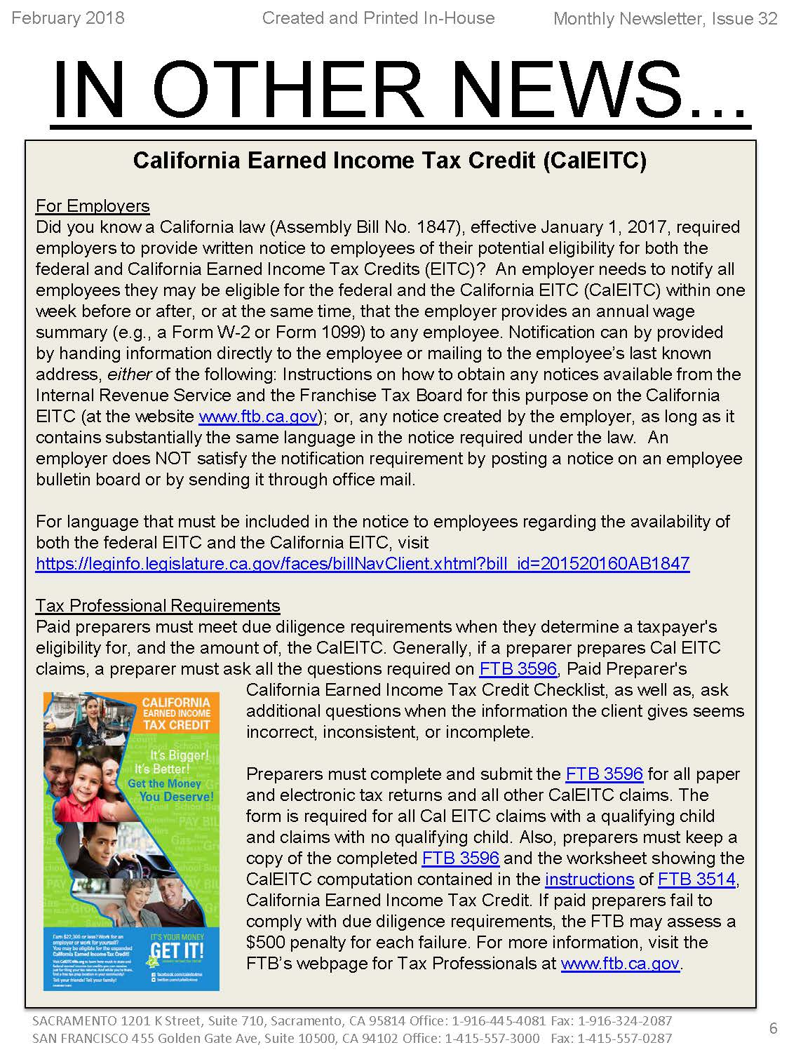 California Earned Income Tax Credit Caleitc Hr Ledger Inc