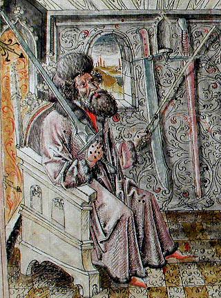 JOHANNES Лихтенауэр, по-видимому, держит в руках FECHTSCHWERT в трактате VON Данцига из 1452..