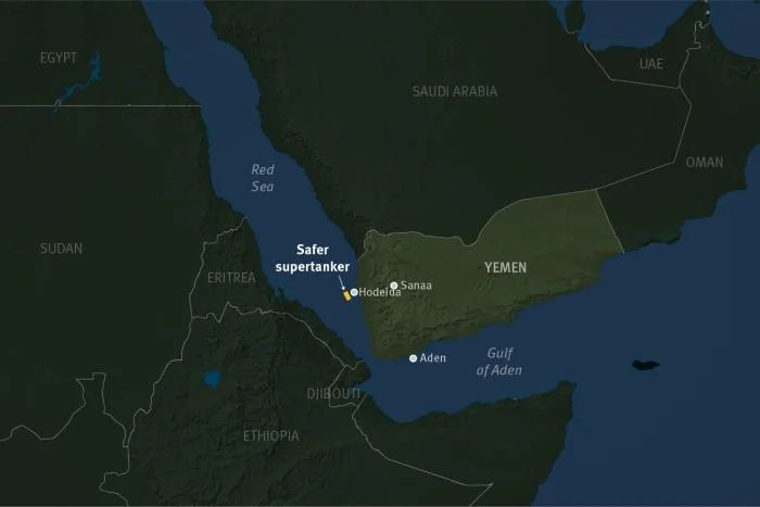 Map of tanker location off the coast of Yemen