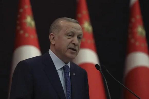 Turkey's President Recep Tayyip Erdoğan speaks during a news conference in Ankara, Turkey, March 18, 2020