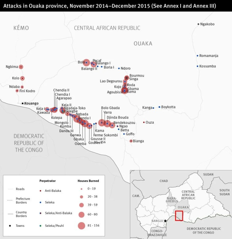 Map of attacks in the Central African Republic Ouaka province