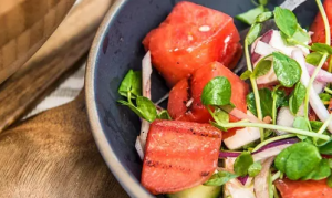 Grilled Watermelon Salad in a bowl
