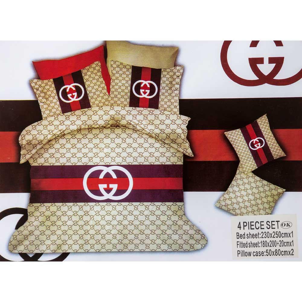 bed sheet with pillow case set gucci beige hir cuccibiege