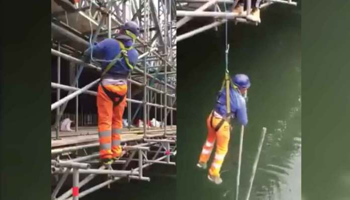 The Worker Wearing Faulty Safety Harness, Putting His Life At Risk