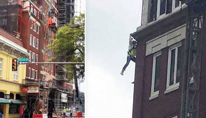 Scaffolding collapse leaves worker hanging off building and pedestrian critically injured