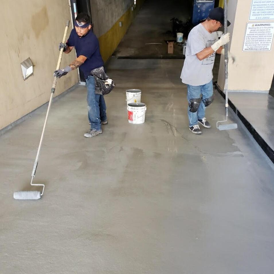 The parking entrance sealing process.