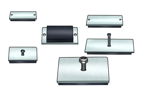 magnetic mounting pads in a variety of different sizes, threaded stud and through hole types
