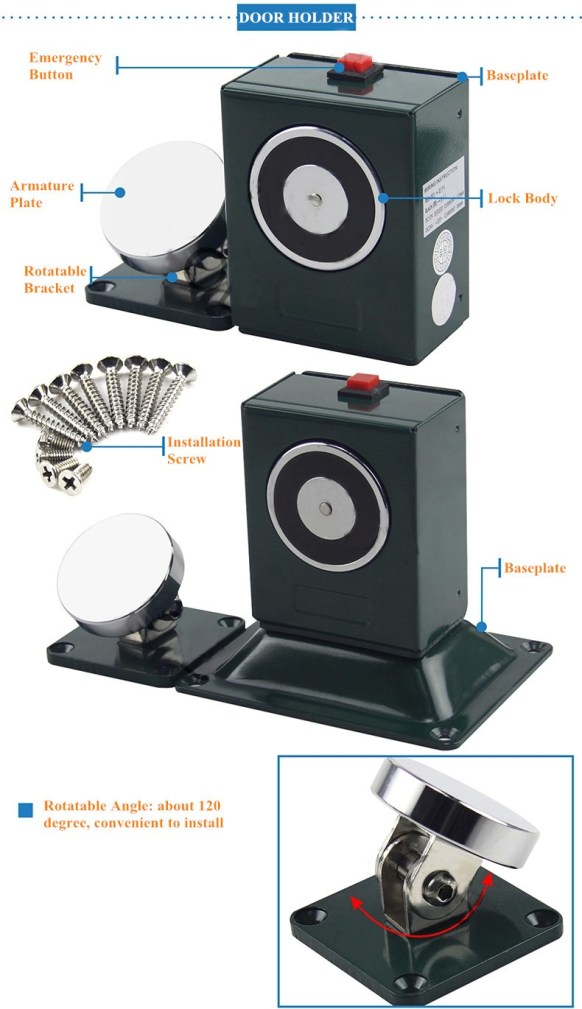 Wall & Floor Mount Adjustable Electromagnetic Door Holder