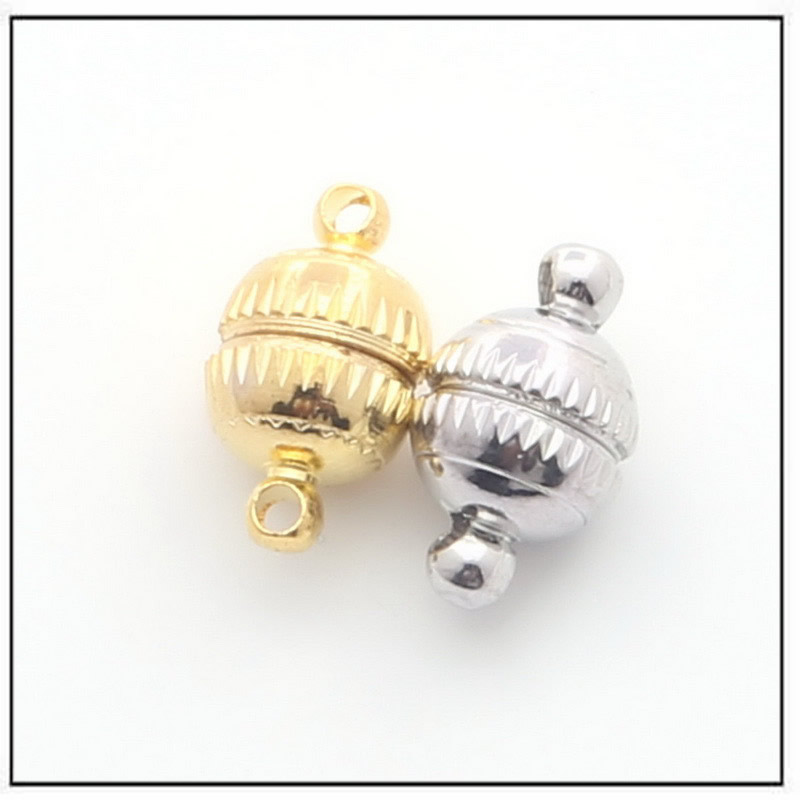 Copper Magnetic Clasps Half Ball Silver Tone Jewellery Craft 5 Piece Pack