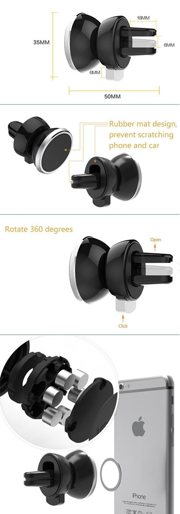 Universal 360 Rotating Magnetic Car Air Vent Mount Phone Holder Stand Explod