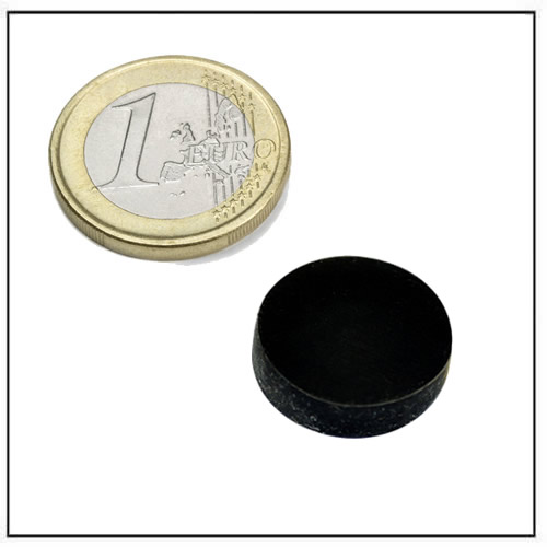 Ø 14.3 x 4.14 mm Rubber Coated Disc Neodymium Magnet Black