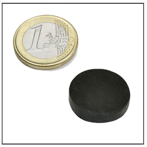 Ø 25.4 x 6.35 mm Black Rubber Covered Round Neodymium Magnet