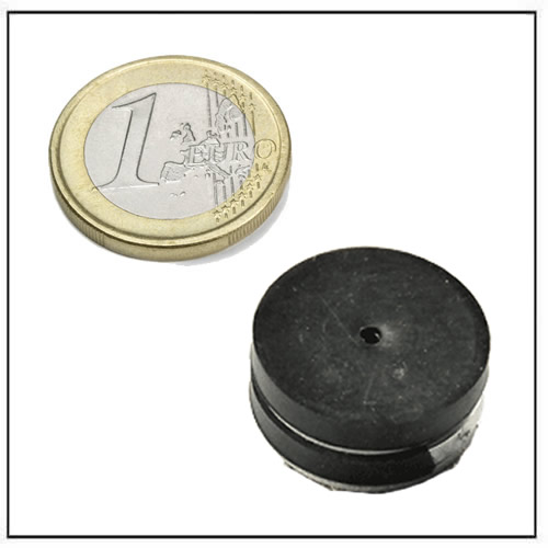 Ø 26.3mm outer dia x Ø 2.6mm inner dia x 4.25mm thick Black Rubber Covered Ring Neodymium Magnets