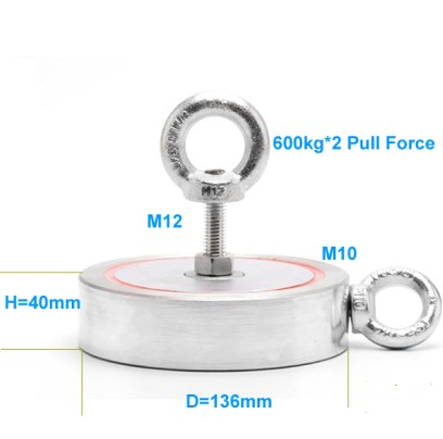 600kg Pull Power Two-Sides Search Custom Neodymium Eyebolt Magnet size drawing