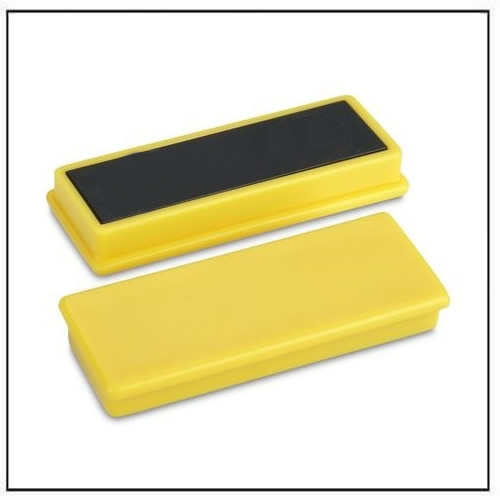 Plastic Cap Magnets in Ferrite, Rectangular Yellow