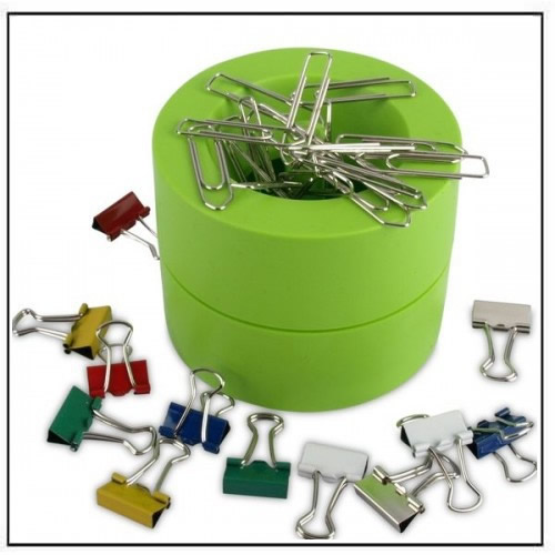 Magnetic Paper Clip Holder Dispenser Green