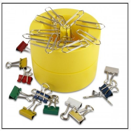 Plastic Magnetic Paper Clip Dispenser Yellow
