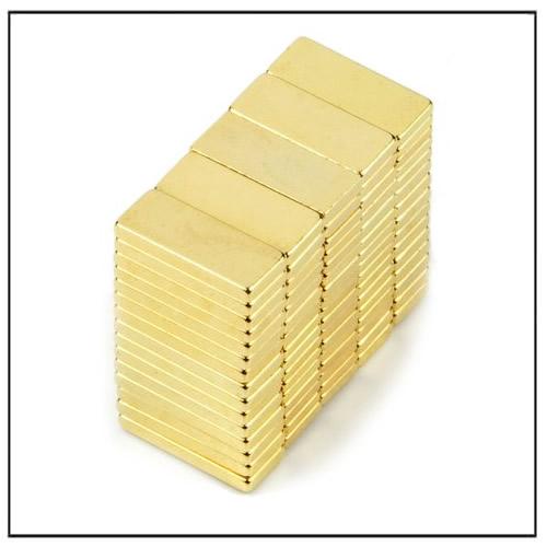 N50 10 x 4 x 1 m NdFeB Block Magnet w Gold Plating