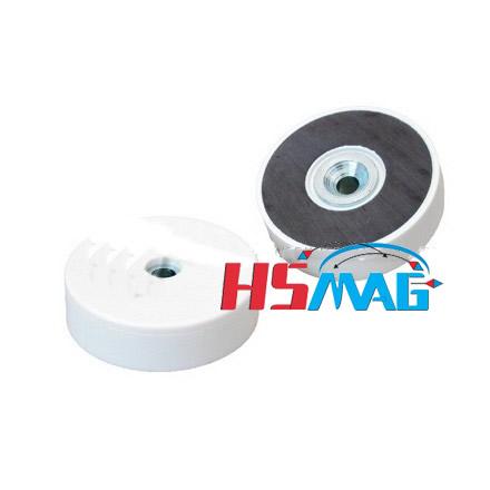 White plastic coating countersunk ferrite pot magnet
