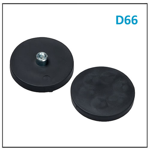 Rubber Round Base Magnet D66 M6