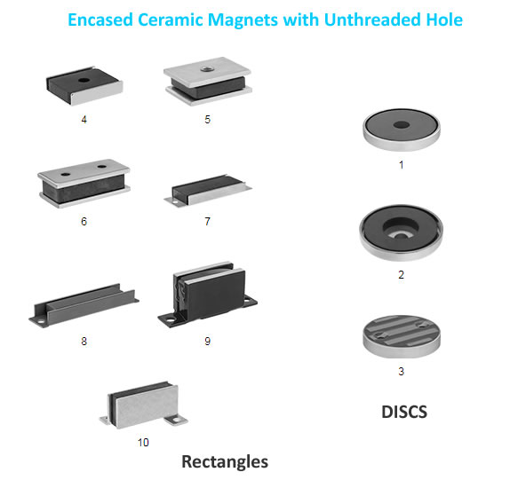 Encased Ceramic Magnets with Unthreaded Hole