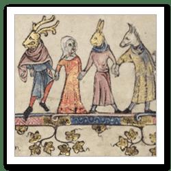 Mummers, Bodl. MS 264, f.21v.