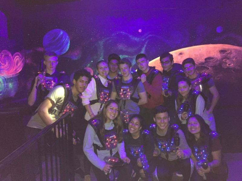 Laser tag players on the senior trip