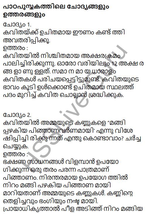 Adisthana Padavali Malayalam Standard 10 Solutions Unit 1 Chapter 3 Ammathottil 1