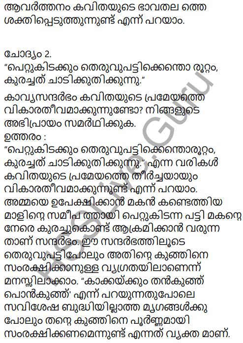 Adisthana Padavali Malayalam Standard 10 Solutions Unit 1 Chapter 3 Ammathottil 25