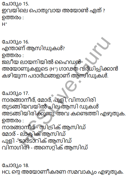 Kerala Syllabus 9th Standard Chemistry Solutions Chapter 5 Acids, Bases, Salts in Malayalam 8