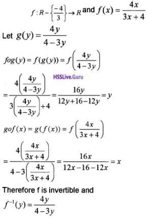 Plus Two Maths Relations and Functions 3 Mark Questions and Answers 2