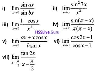 Plus One Maths Limits and Derivatives Three Mark Questions and Answers 11