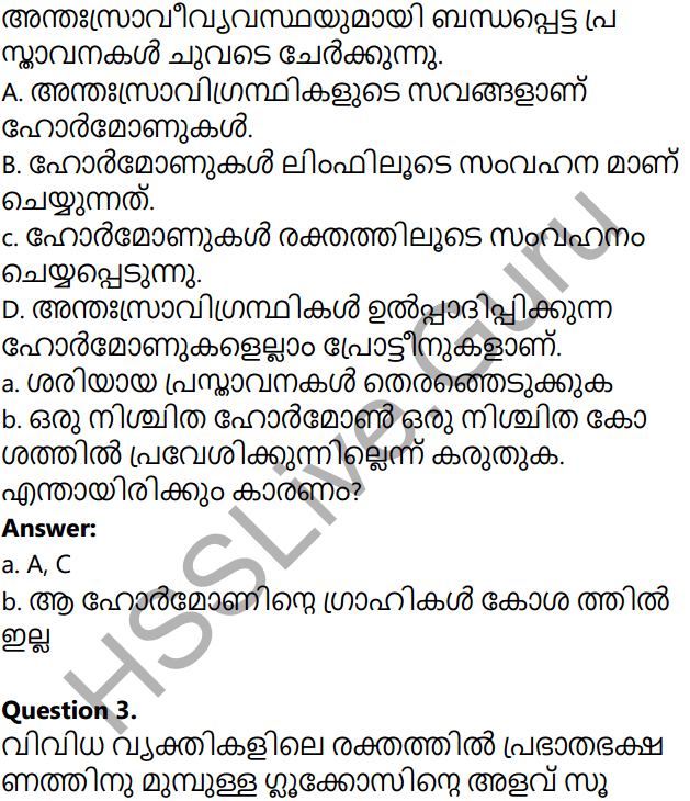 Kerala Syllabus 10th Standard Biology Solutions Chapter 3 Chemical Messages for Homeostasis in Malayalam 50