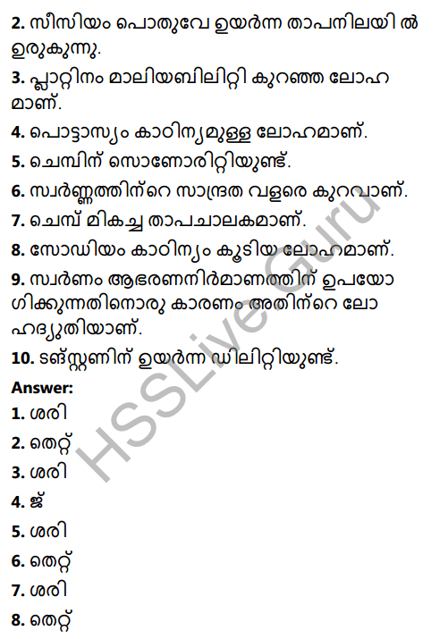Kerala Syllabus 8th Standard Basic Science Solutions Chapter 7 Metals in Malayalam 3
