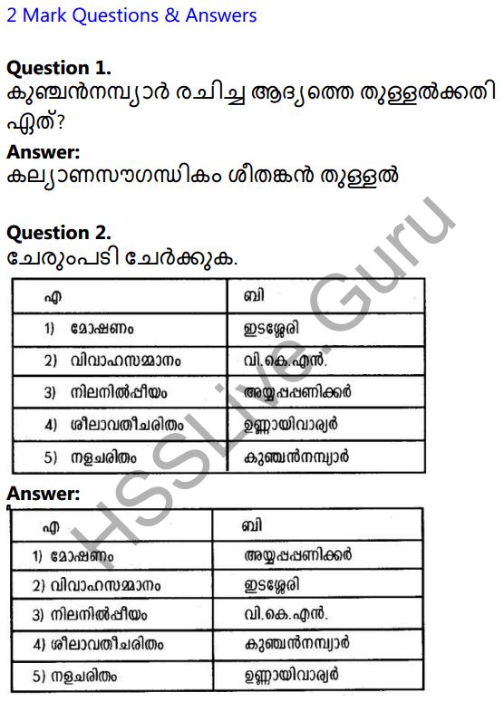 Plus Two Malayalam Textbook Answers Unit 3 Chapter 1 Kollivakkallathonnum 1