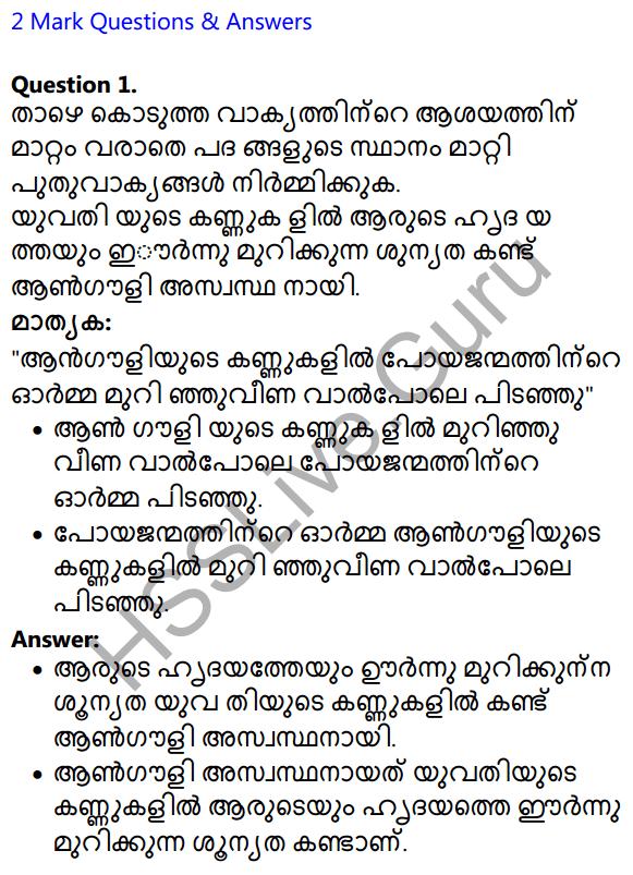 Plus Two Malayalam Textbook Answers Unit 3 Chapter 2 Gauli Janmam 1