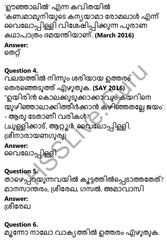 Plus One Malayalam Textbook Answers Unit 3 Chapter 2 Oonjalil 21