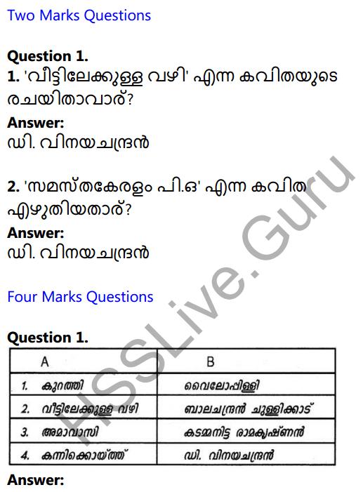 Plus One Malayalam Textbook Answers Unit 4 Uravu 1