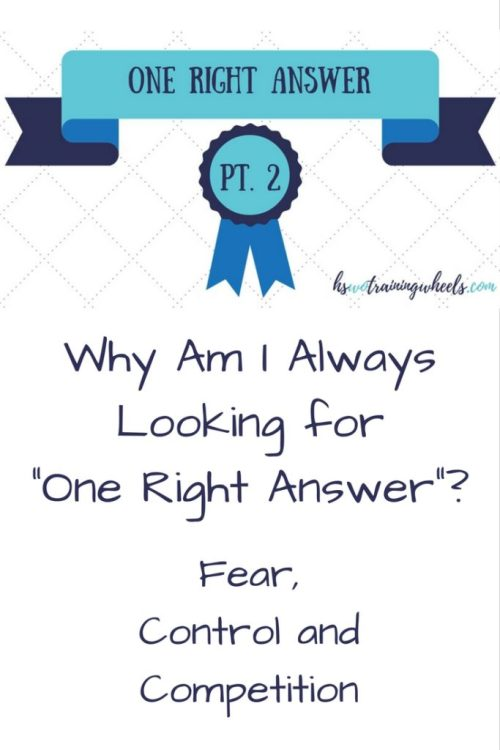 Why are we so driven to find the one right answer? It has a lot to do with fear, control and competition ... and where you place your hope!