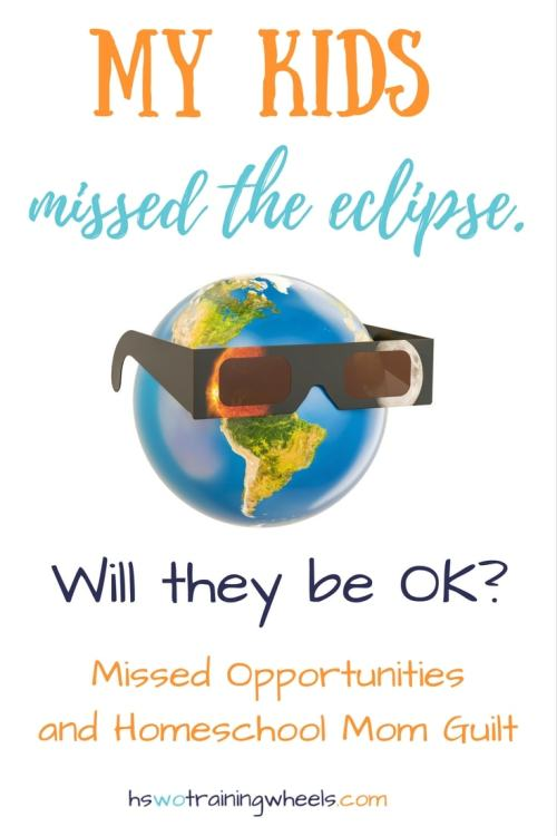 A major, once-in-a-lifetime event just happened. A nearly total eclipse came to our state. And my kids missed it. Homeschool mom fail?
