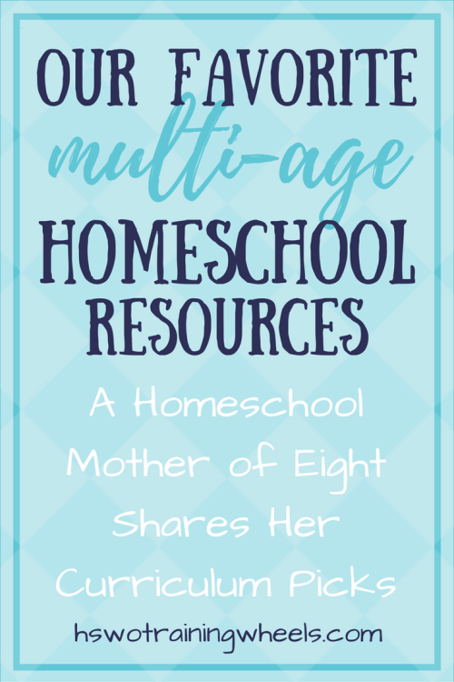 """Homeschooling multiple ages at once can be a real challenge. A homeschool mom of eight shares her favorite curriculum and resources for """"family schooling""""."""