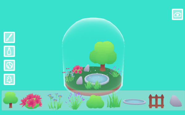 Tiny Worlds in Flasks dome with flowers and tree