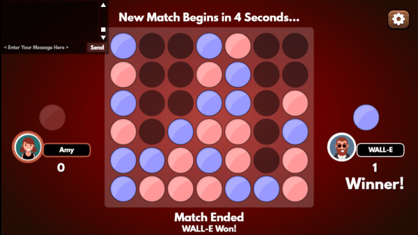 4 in a row HTML5 game match ended