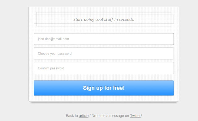 CSS3 signup form